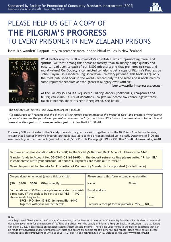 Get Pilgrim's Progress into the hands of every prisoner in a New Zealand prison.